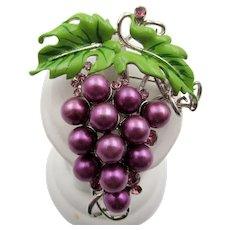 Vintage Enamel, Faux Pearl and Rhinestone Grape Cluster Pin