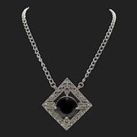 Kenneth Jay Lane KJL Black Rhinestone Art Deco Style Diamante Chain Necklace