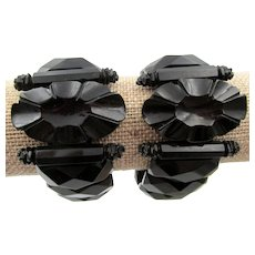 Pair of Victorian Genuine Black Whitby Jet Bracelets
