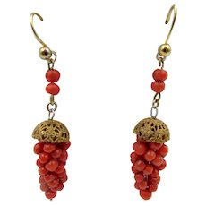 Mid-Victorian Coral Cluster Grape Pierced Earrings