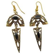 Art Deco Gold Vermeil Sterling Onyx Drop Pierced Earrings