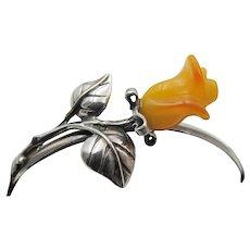 Sterling Silver Bakelite Carved Rose Cuff Bracelet