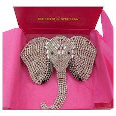 1980s Butler and Wilson UK Crystal Rhinestone Elephant Brooch