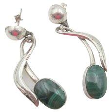 Taxco Sterling Silver Malachite Drop Pierced Earrings