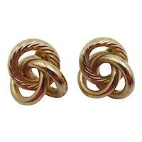 Vintage 15k Yellow Gold Triple Knot Pierced Earrings