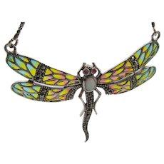 Vintage Sterling Plique a Jour Marcasite Dragonfly Necklace