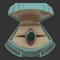 Vintage Art Deco Sterling Chrysoprase Marcasite Ring