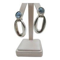 Vintage Givenchy Topaz Rhinestone Drop Clip Earrings