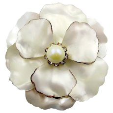 Signed Hobe White Pearlized Lucite and Rhinestone Flower Brooch