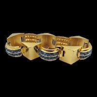 1940s Coro Sapphire Blue Channel Set Rhinestone  6.5 Inch Bracelet