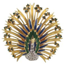 Signed Jomaz Enamel and Rhinestone Peacock Brooch