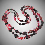 "LAST CHANCE:  Vintage Rare Red and Black Art Glass Double Strand 24"" Necklace"