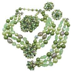 Wonderful DeMario Green Rhinestone Beaded And Faux Pearl Grand Parure