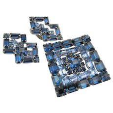Weiss Sapphire and Light Blue Rhinestone Layered Pin and Earring Set