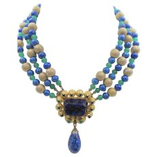Vintage Faux Lapis Lazuli and Green Glass Beaded Drop Necklace