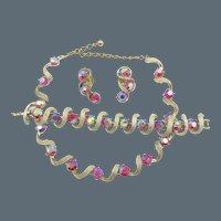 Kramer Red Aurora Borealis Rhinestone Necklace, Bracelet and  Earring Set