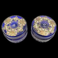 Vintage Pair of Cobalt Blue Hand Painted Dresser Jars