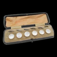 Victorian Set of Six Mother of Pearl Buttons in Case