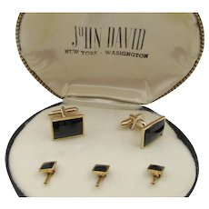Vintage Swank Black Faceted Cufflink Tuxedo set