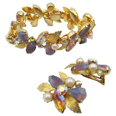 Kramer of New York Shades of Orchid Rhinestone Bracelet and Earring Set