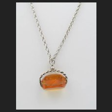 Vintage Sterling Amber Glass Fob Pendant on Sterling Rolo Chain Necklace