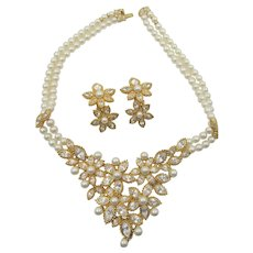 Stunning Christian Dior Crystal Rhinestone and Faux Pearl Bib Necklace and Drop Earrings