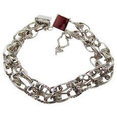 Vintage Sterling Silver JB Starter Double Chain Charm Bracelet