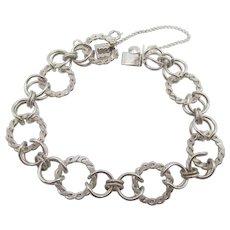 Vintage Sterling Silver JB Starter Twisted Chain Charm Bracelet