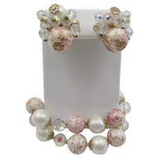 Vendome Pink and Faux Pearl Beads Glass Crystal AB Bracelet and Earrings