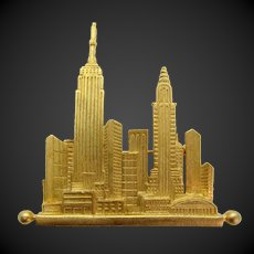 Vintage KJL Kenneth Jay Lane New York City Skyline Brooch