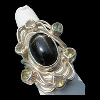 Brutalist Sterling Silver Black Star Diopside and Citrine Ring