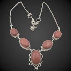 Sterling Silver Goldstone Cabochon Drop Necklace