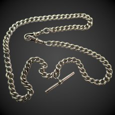 Antique Sterling Silver Double Albert T-Bar Necklace Chain