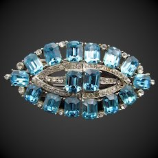 Gorgeous Art Deco Aqua Blue Rhinestone Dress Clip Duette