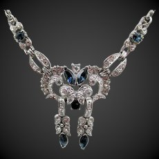 Vintage Art Deco Signed Coro Blue Sapphire and Crystal Rhinestone Drop Necklace