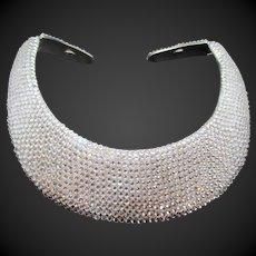 Vintage Signed KJL Kenneth Jay Lane Crystal Hinged Bib Collar Necklace