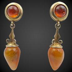 Dower & Hall 18k Gold Vermeil Hallmarked Amber Drop Pierced Earrings