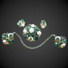 Weiss Emerald Green and AB Rhinestone Sweater Guard, Brooch and Clip Earring Set