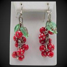 Vintage Rhinestone Studded Cherries with Leaves Whimsical Dangle Pierced Earrings