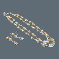 Signed Sherman Aurora Borealis Crystal Necklace and Earrings