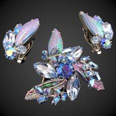 Signed Sherman Montana Sapphire, Light Sapphire,  AB Rhinestone Brooch and Earring Set