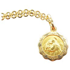 Hallmarked 18k Gold Saint Anthony Medal Charm Necklace