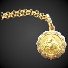 Hallmarked 18k Gold Saint Anthony Medal Charm Necklace
