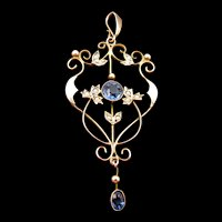 Edwardian Blue Paste and Seed Pearl  9k Gold Lavalier Pendant