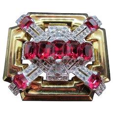 Vintage Signed McClelland Barclay Faux Ruby Art Deco Rhinestone Brooch