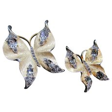 Vintage Signed Crown Trifari Pair of Butterfly Rhinestone Studded Pins/Brooches