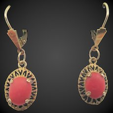 Vintage Hallmarked 9k (9CT) Gold Coral Pierced Earrings
