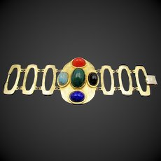 Vintage Etruscan Style Large Chain Glass Cabochon Bracelet