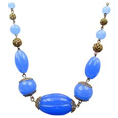 Signed Czech Art Deco Periwinkle Blue Glass Filigree Necklace
