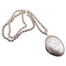 Sterling Silver Birmingham England Engraved Locket Rope Necklace